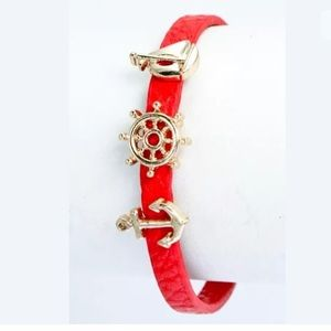 ❤️ Red Faux Leather Sailboat Nautical Bracelet